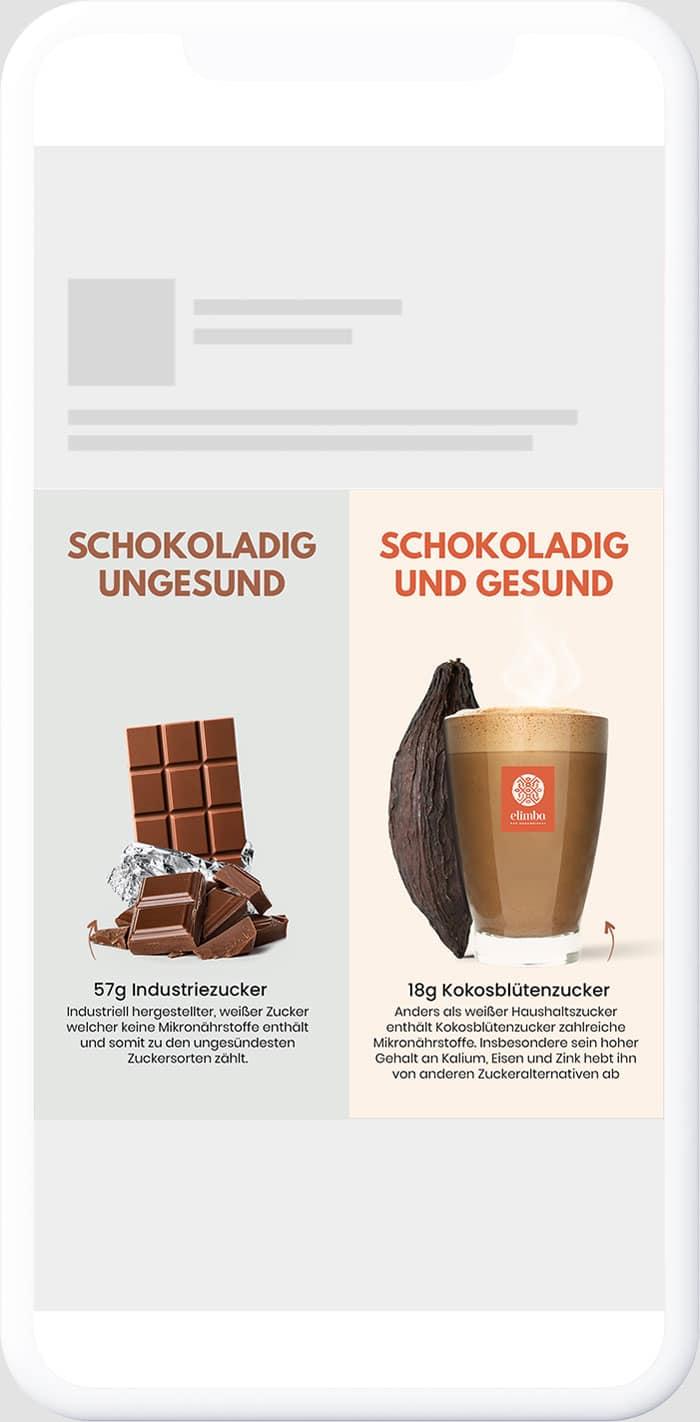 Vergleich Creative von Elimba mit ungesunder Schokolade